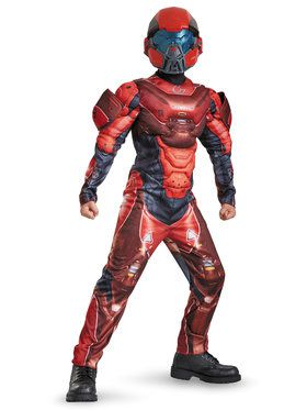 Halo Red Spartan Muscle Chest Classic Boys Costume