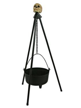 Hanging Cauldron with Stand and Skull