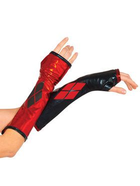 Harley Quinn Fingerless Gloves for Adults