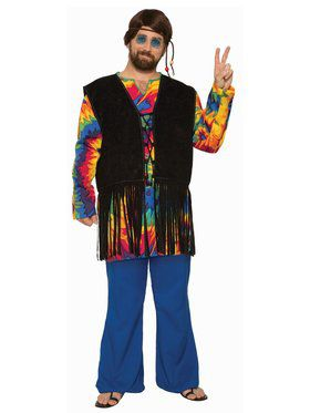 Hippie Tie Dye Dude - Plus Adult Costume