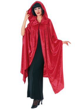 Hooded Crushed Red Velvet Cape Adult Cos