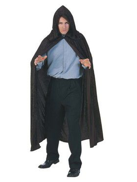 Hooded Velvet Black Cape Adult Costume