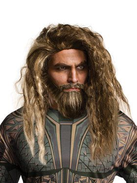 Justice League Aquaman Wig and Beard Kit for Adults