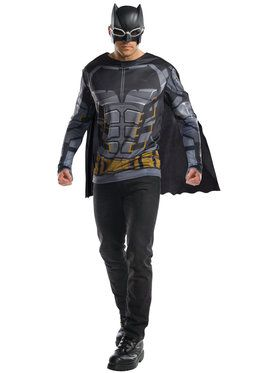 Justice League Tactical Batman Adult Long Sleeve Costume Top with Removable Cape and Mask