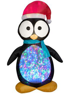 7.5 Ft Airblown Kaleidoscope Projection Penguin Decoration