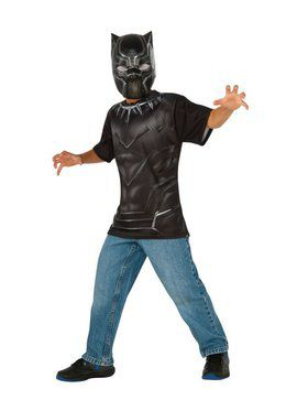 Kids Black Panther Costume Top and Mask