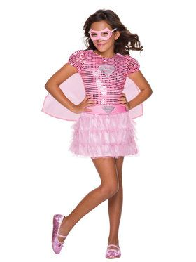 Girls Pink Supergirl Sequin Costume