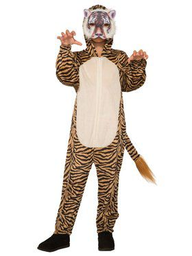 Tiger Jumpsuit with 2018 Halloween Masks Costume for Kids