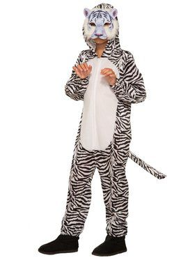 White Tiger Jumpsuit with 2018 Halloween Masks Costume for Kids