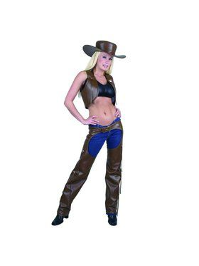 Ladies Full Chaps & Vest Adult Costume