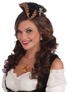 Lady Buccaneer Mini Hat with skull - Adult One Size