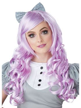Lavender Cosplay Doll Adult Wig w/ Clip on Bow One-Size