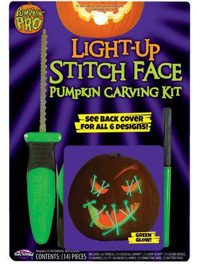 Stitch Face Light Up Green Pumpkin Carving Kit