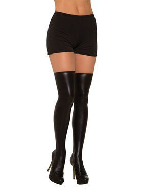 Black Liquid Leather Knee Highs