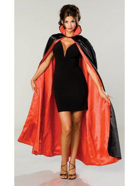 Long Blk Satin Cape