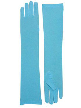 Long Nylon Light Blue Gloves