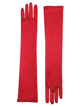 Long Satin Gloves - Red