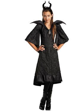 Girls Maleficent Christening Black Gown