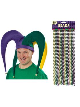 Mardi Gras Jester Hat and Bead Bundle
