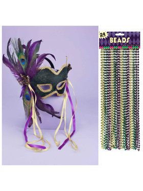 Mardi Gras Mask and Bead Bundle