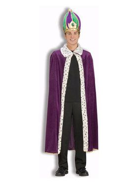 Mardi Gras Robe And Crown Set Adult