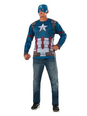 Marvel: Avengers: Infinity War Mens Captain America Long Sleeve Shirt