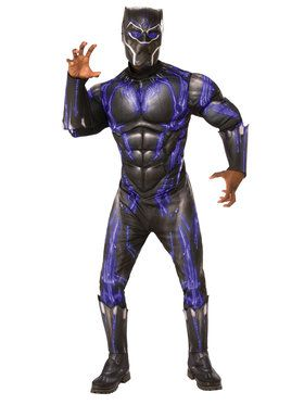Marvel: Black Panther Movie Mens Deluxe Black Panther Battle Suit Costume