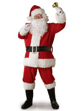 Mens 10 Piece Plush Santa Suit Set