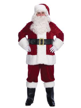 Mens 10 Piece Velvet Complete Santa Suit Set