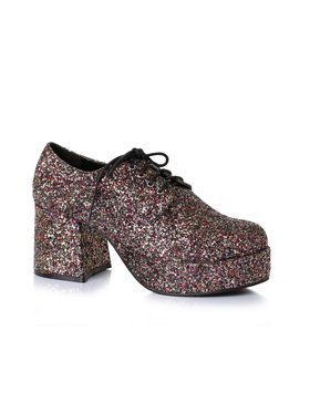 Men's 3 inch Heeled Platform Black Glitter Disco Shoe