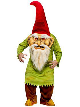 Mens Big Head Evil Gnome Adult Costume