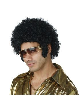 Mens Black Afro Chops Wig