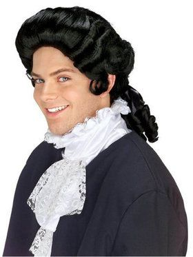 Mens Black Colonial Wig