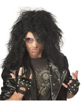 Mens Black Heavy Metal Rocker Wig