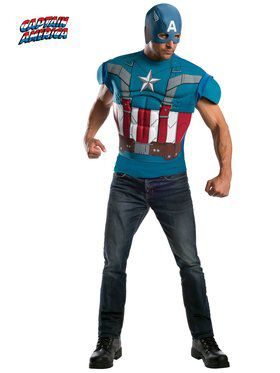 Mens Captain America Muscle Chest T-shir