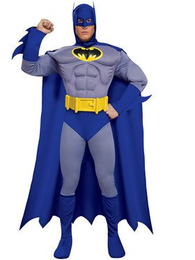 Mens Deluxe Muscle Chest Batman Costume