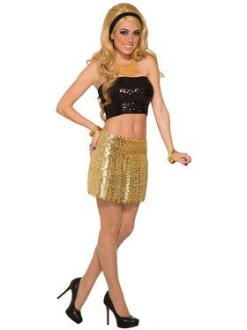 Gold Sequin Disco Skirt For Women