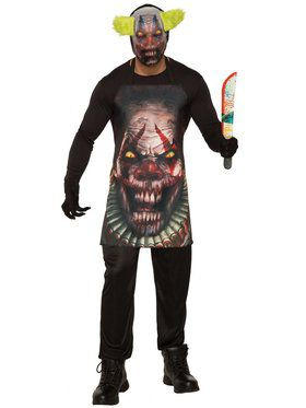 Mens Horror Clown Apron And Mask Costume