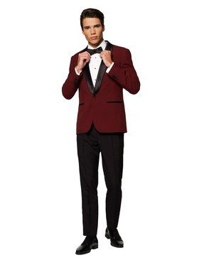 Men's Hot Burgundy Festive Tuxedo