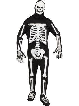 Mens Light Up LED Skele-bones Costume