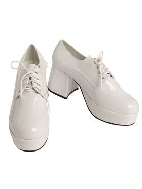 White Pimp Platform Mens Shoes