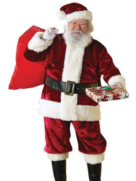 Mens Crimson Regency Plush Santa Suit