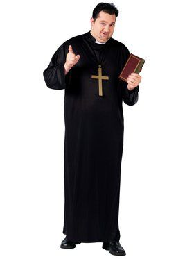 Mens Plus Size Priest Costume