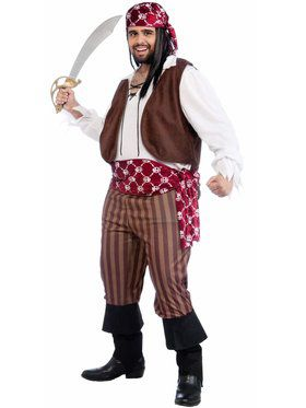 Plus Size Mens Shipwrecked Pirate Costume
