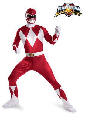 Mens Power Rangers Red Ranger Super Delu