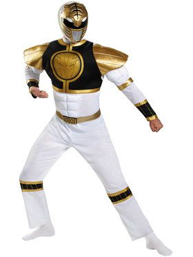 Classic White Power Ranger Mens Costume