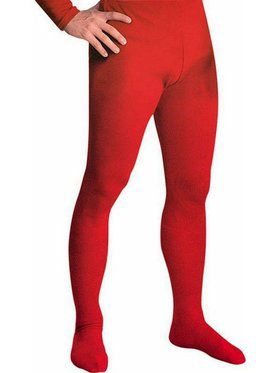 Men's Professional Tights With Feet Red - Large