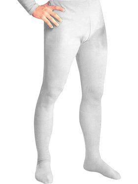 Men's Professional Tights With Feet White - Large