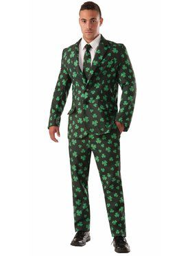 Mens Shamrock Suit & Tie Costume