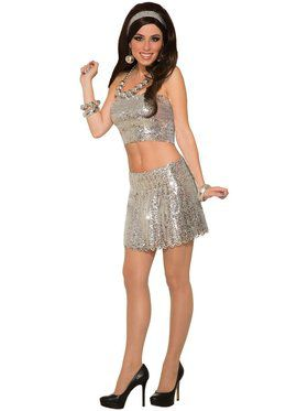 Adult Silver Sequin Disco Skirt